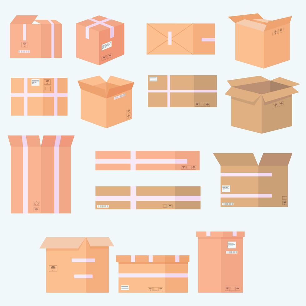 Conjunto de iconos de varias cajas de cartón vector