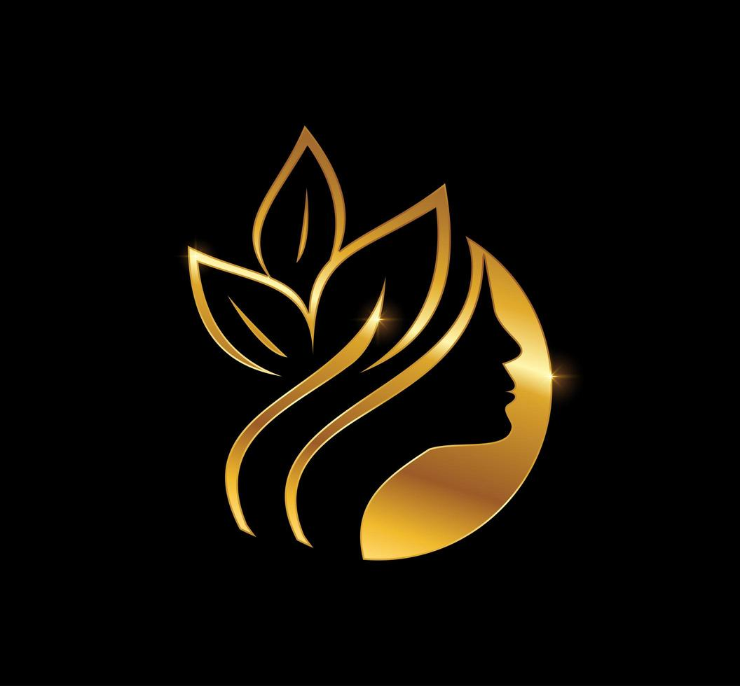 rosto lindo dourado e emblema da folha vetor