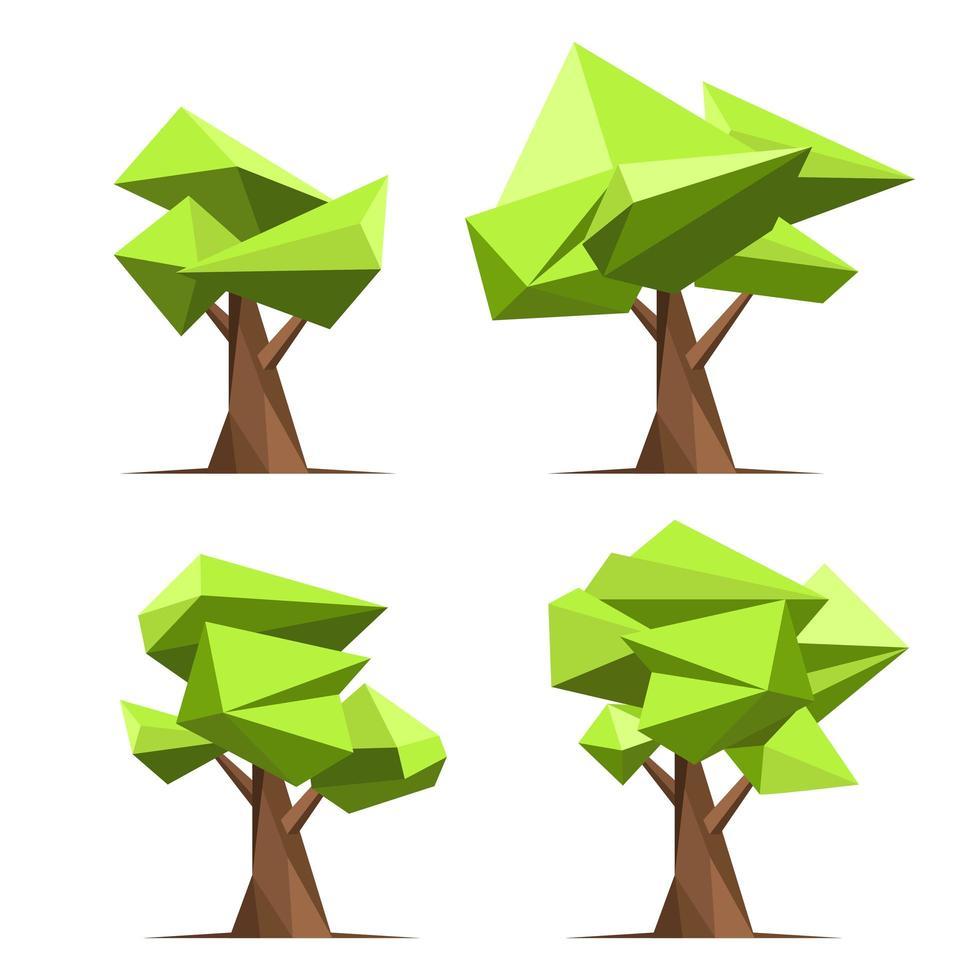 conjunto de árvore de estilo abstrato vetor