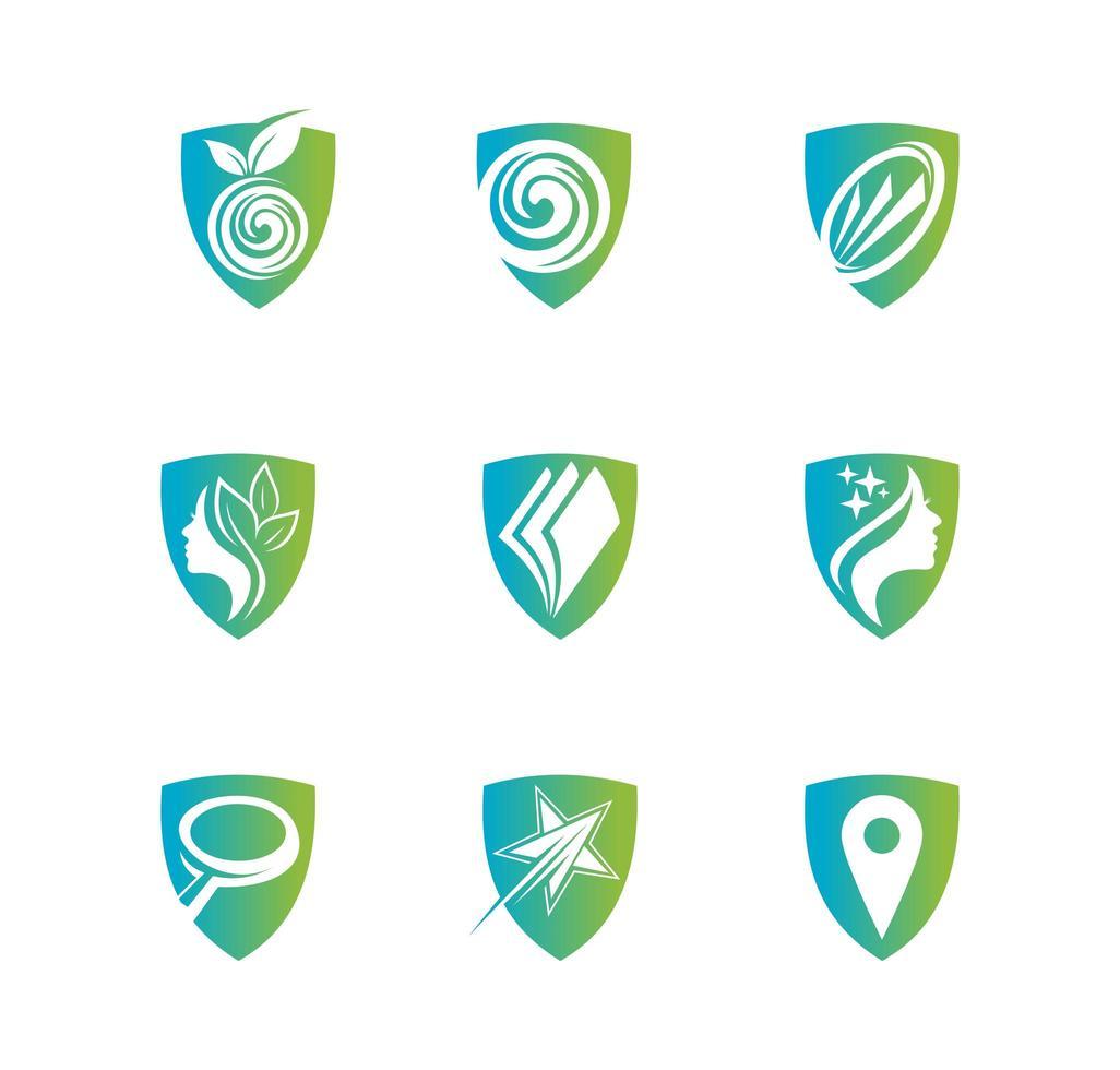 escudo para el conjunto de logotipos de atención médica vector