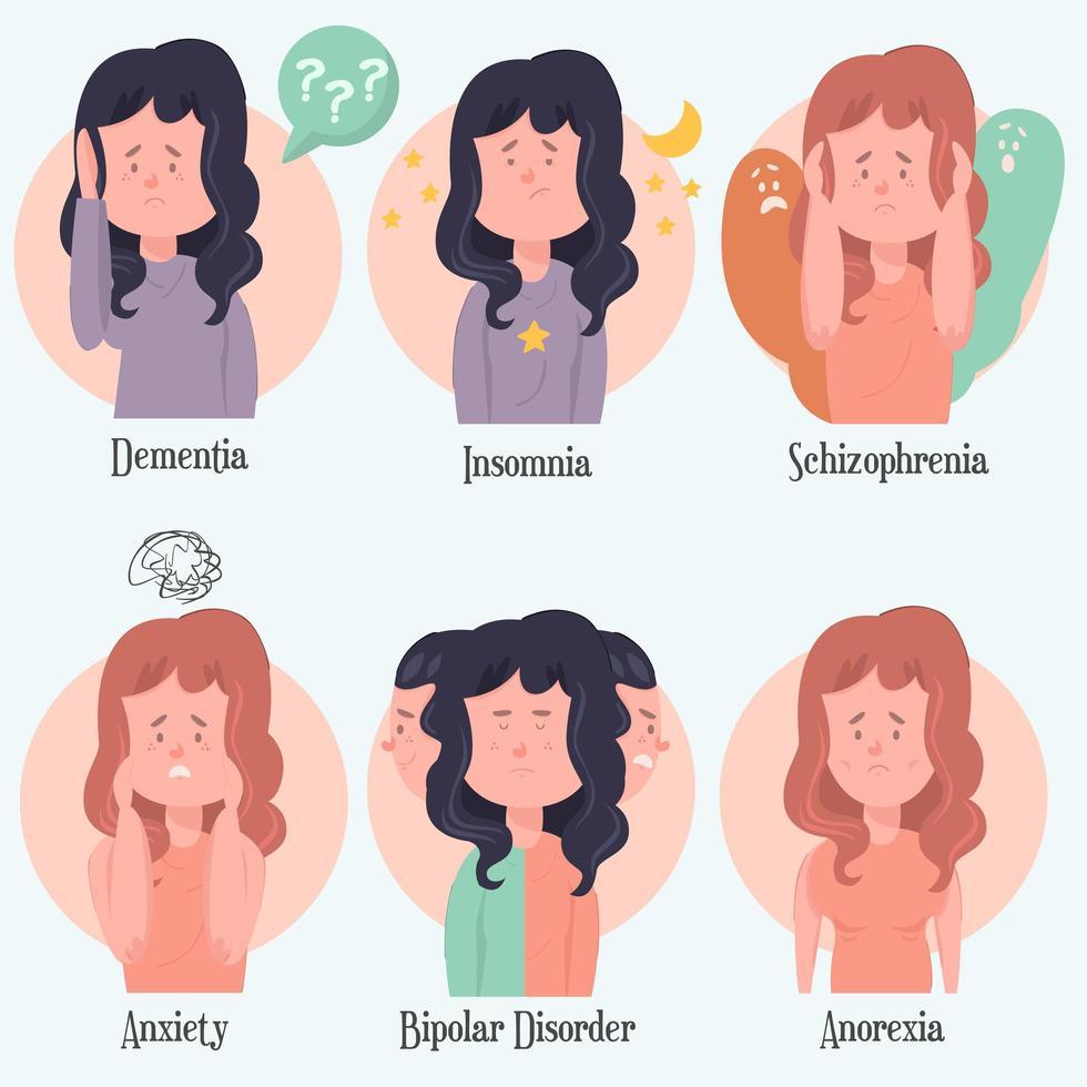 colección de mujer de dibujos animados de trastorno mental vector