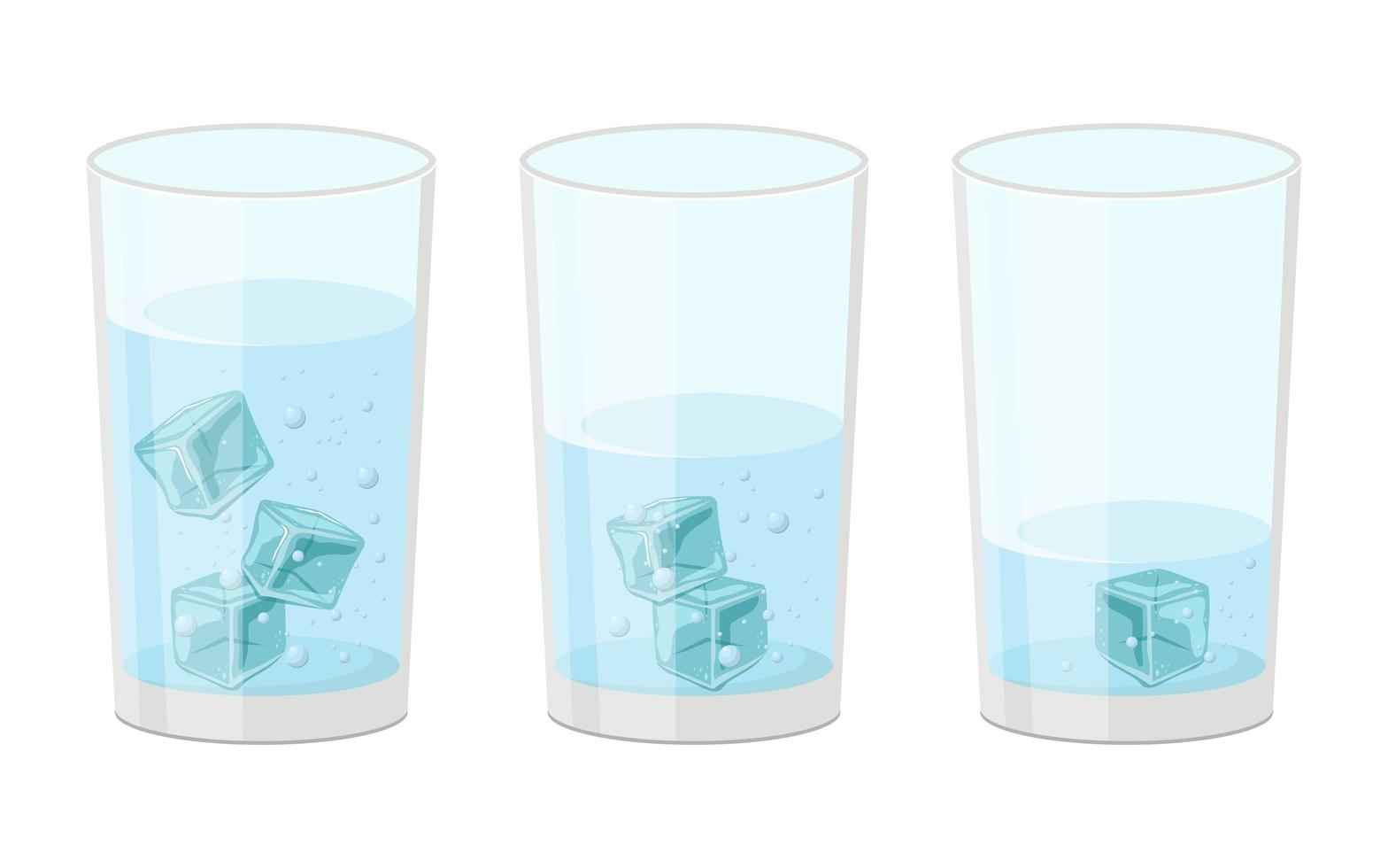 Glass of water with ice cubes set vector