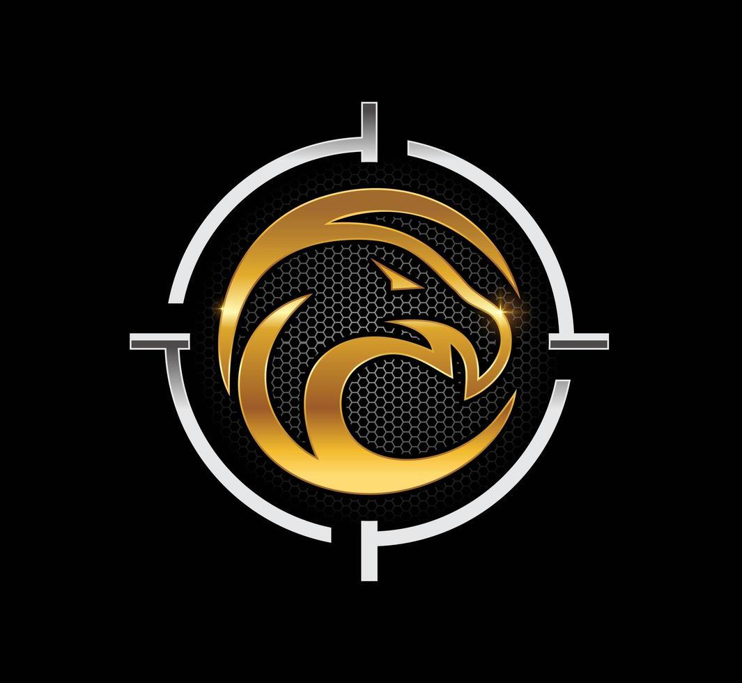 águia dourada no emblema do símbolo do alvo vetor