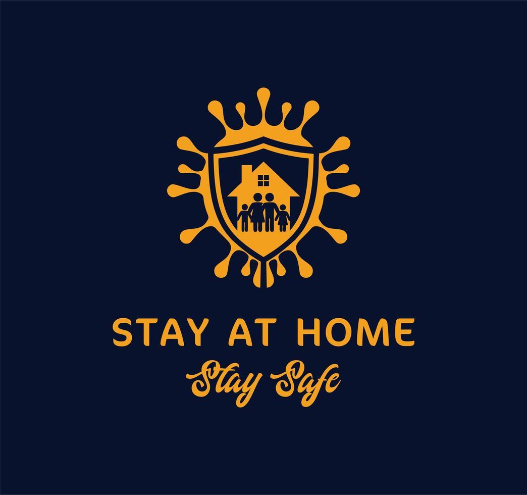 cartel azul y naranja quédese en casa diga seguro vector