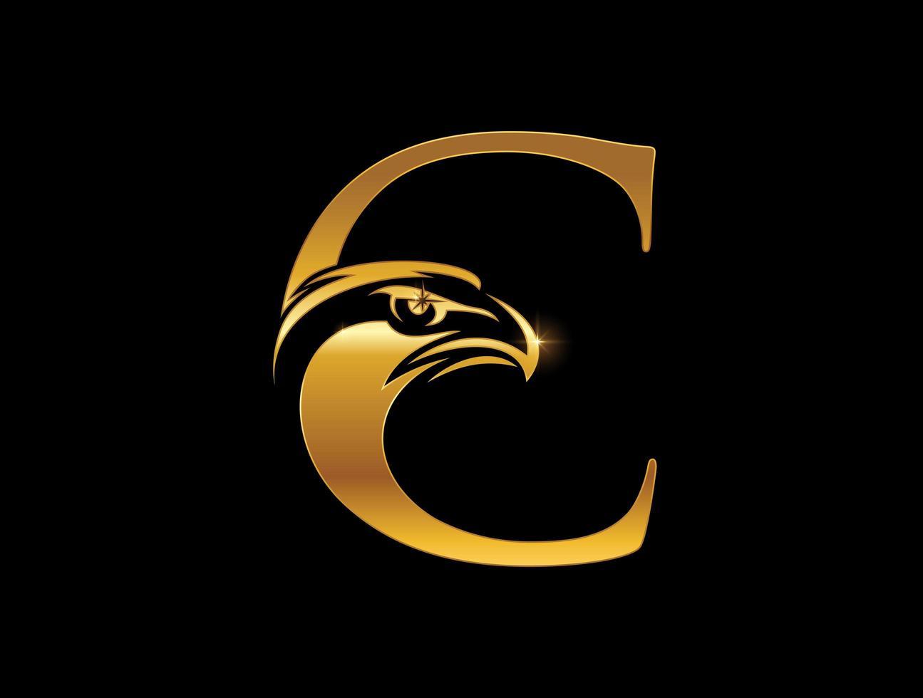 águila real, letra c, emblema vector