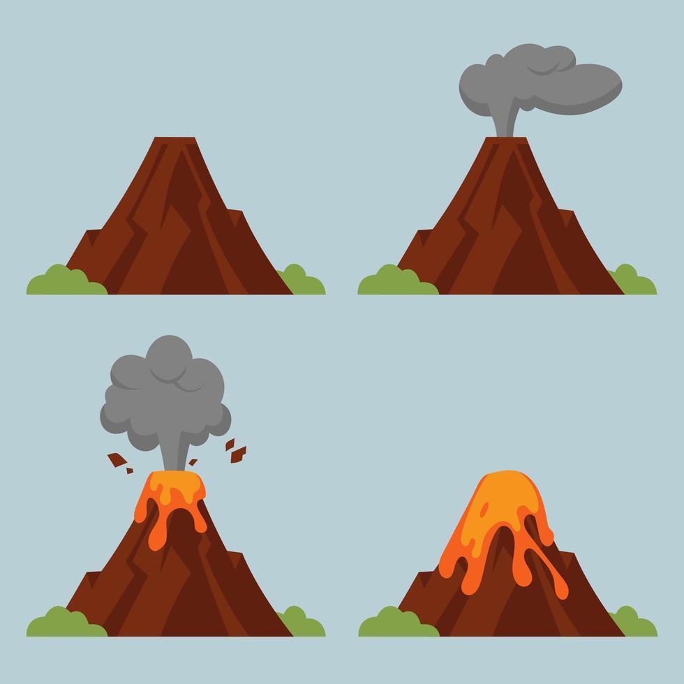volcán en diversos grados de erupción vector