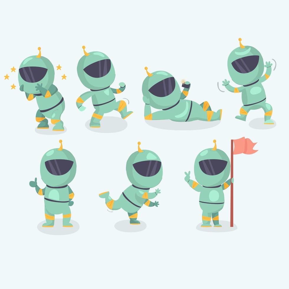 conjunto de personajes de astronauta vector