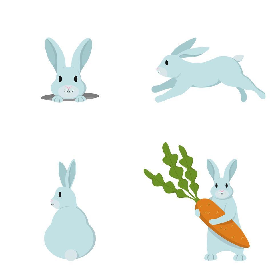 conjunto de lindos conejos vector