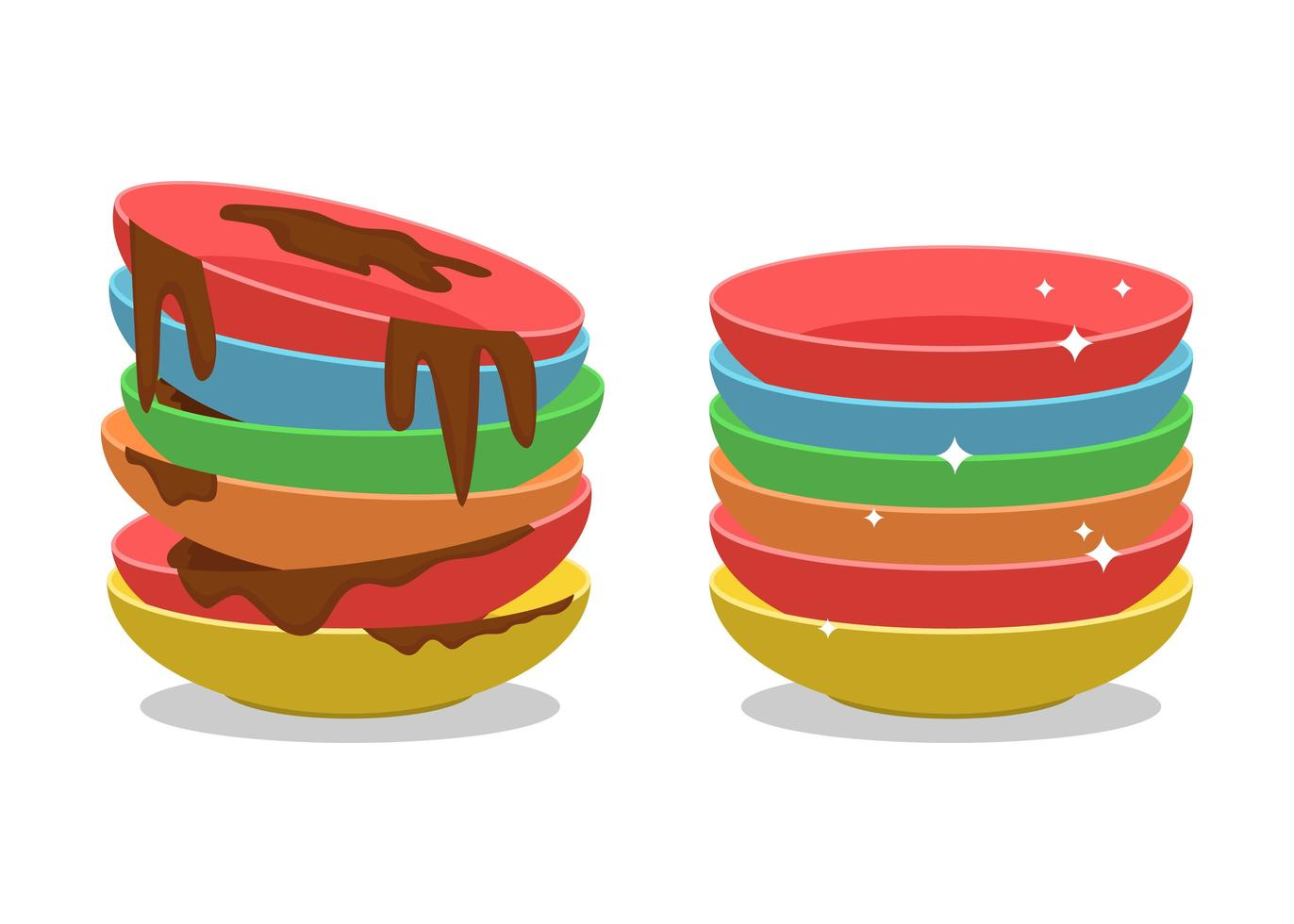 juego de platos sucios y limpios de estilo de dibujos animados vector