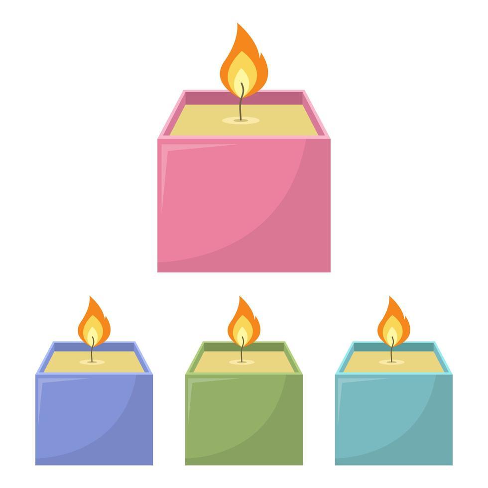 juego de velas cuadradas vector