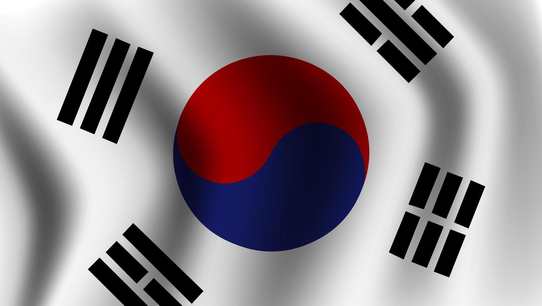 bandera de corea del sur ondeando realista vector