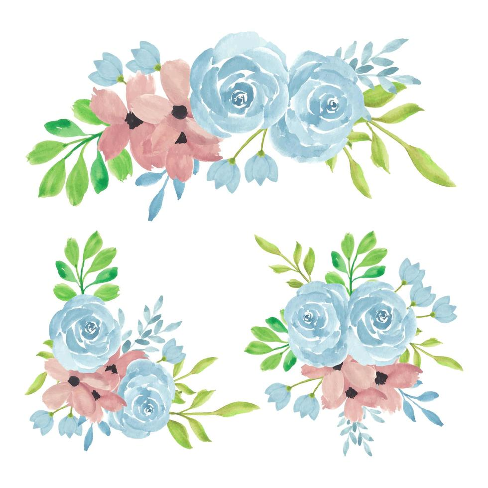 Watercolor hand painted rose flower bouquet collection vector