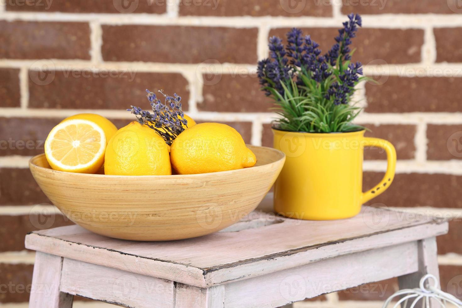 Still life with fresh lemons and lavender photo