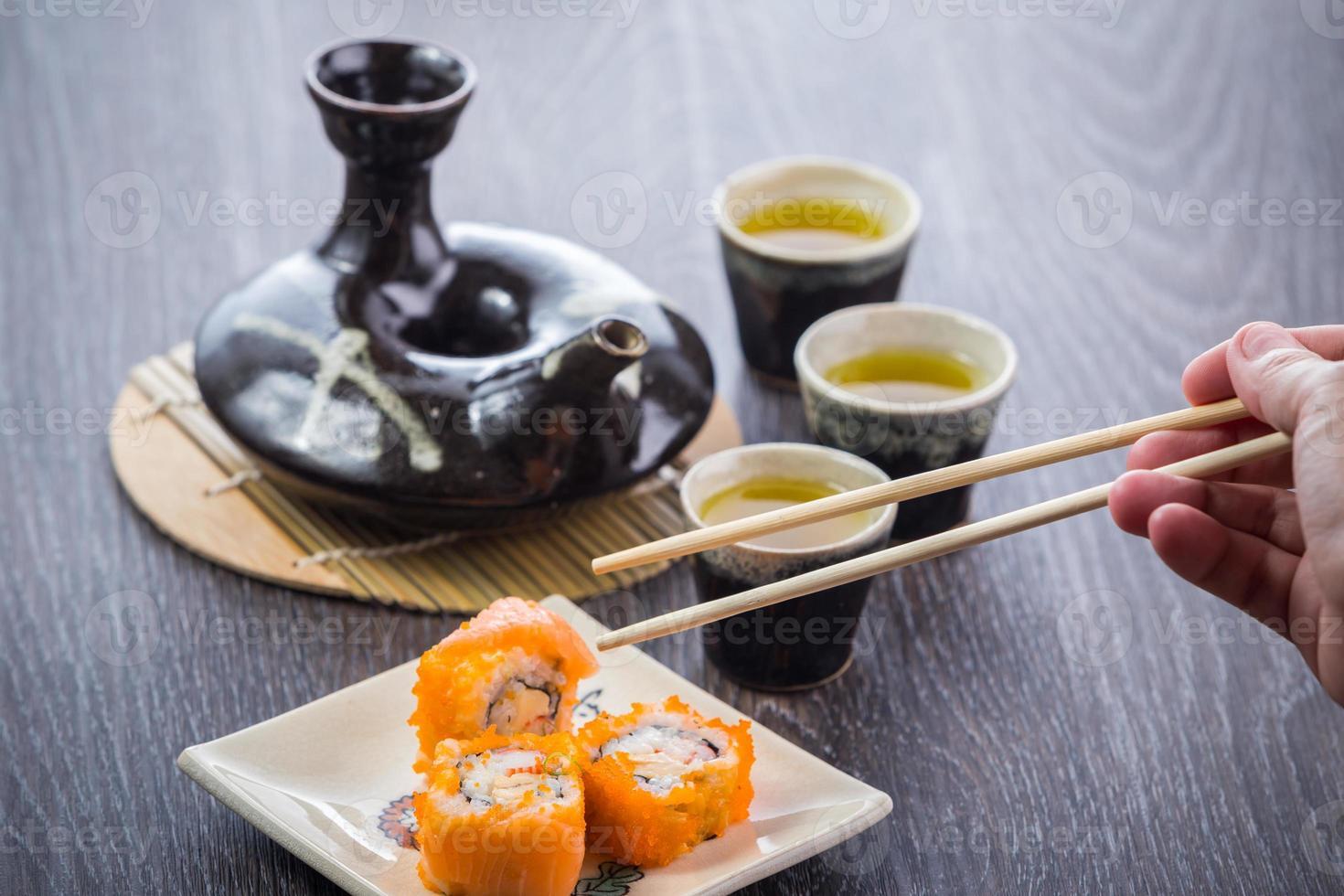 tea set and sushi photo
