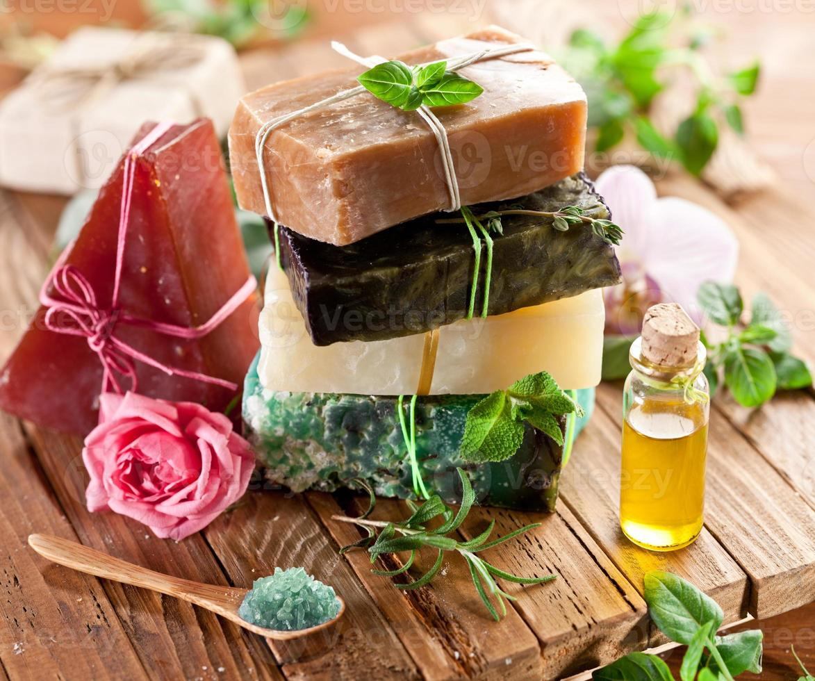 Pieces of natural soap. photo