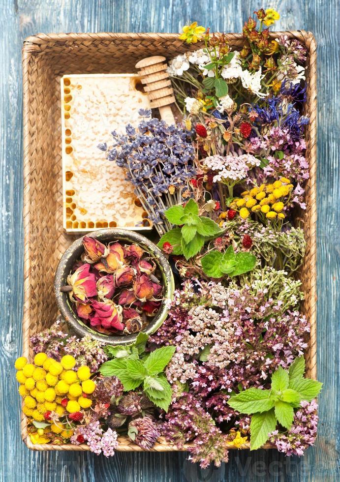 ervas e flores secas e frescas na cesta. foto