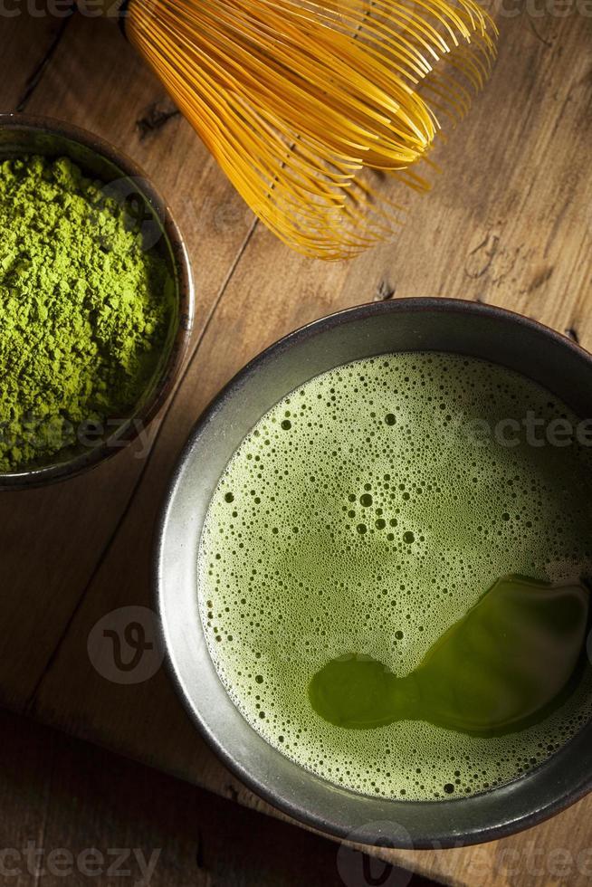 chá verde matcha orgânico foto