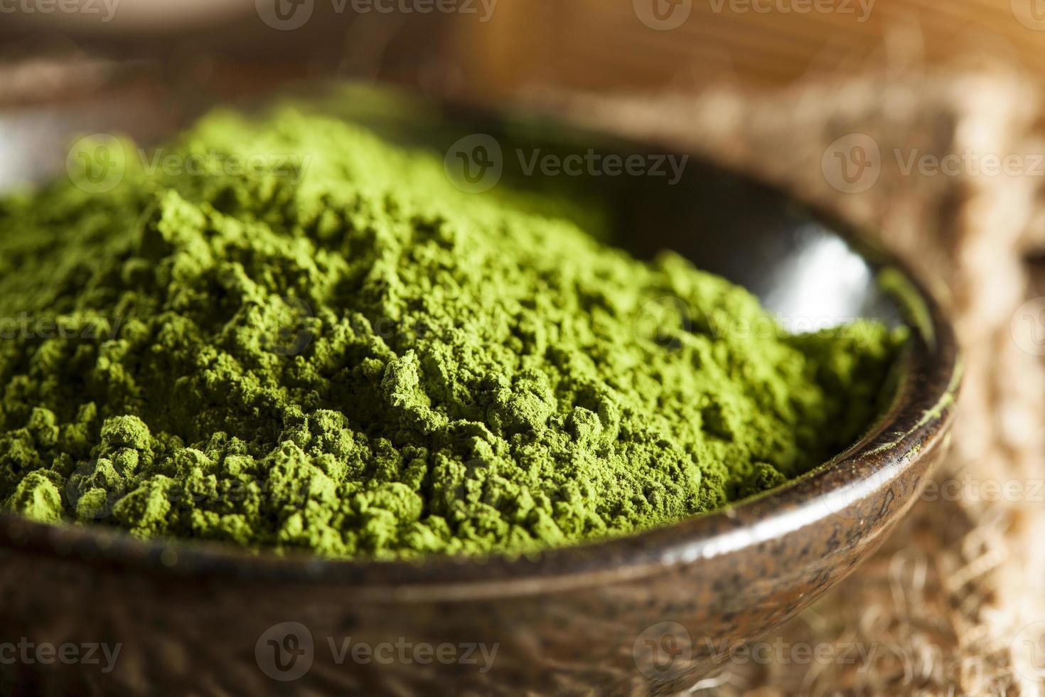 chá matcha verde orgânico cru foto