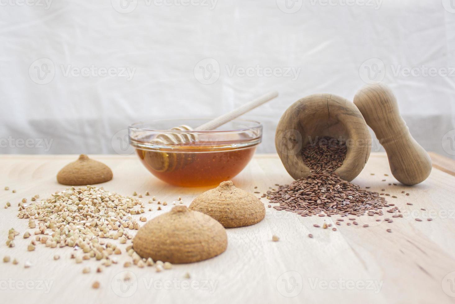 Tasty cookies with honey, buckwheat and flax seeds photo