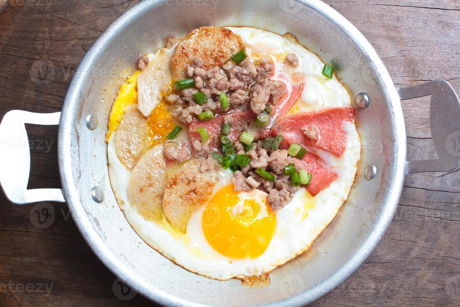 sartén de huevos, desayuno. foto