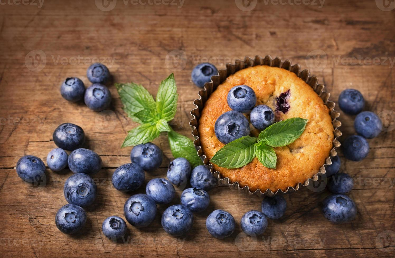 Blueberry muffins with oat flakes photo