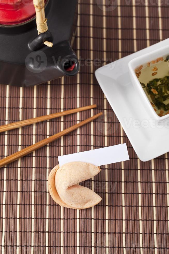 tea cup and chopsticks photo