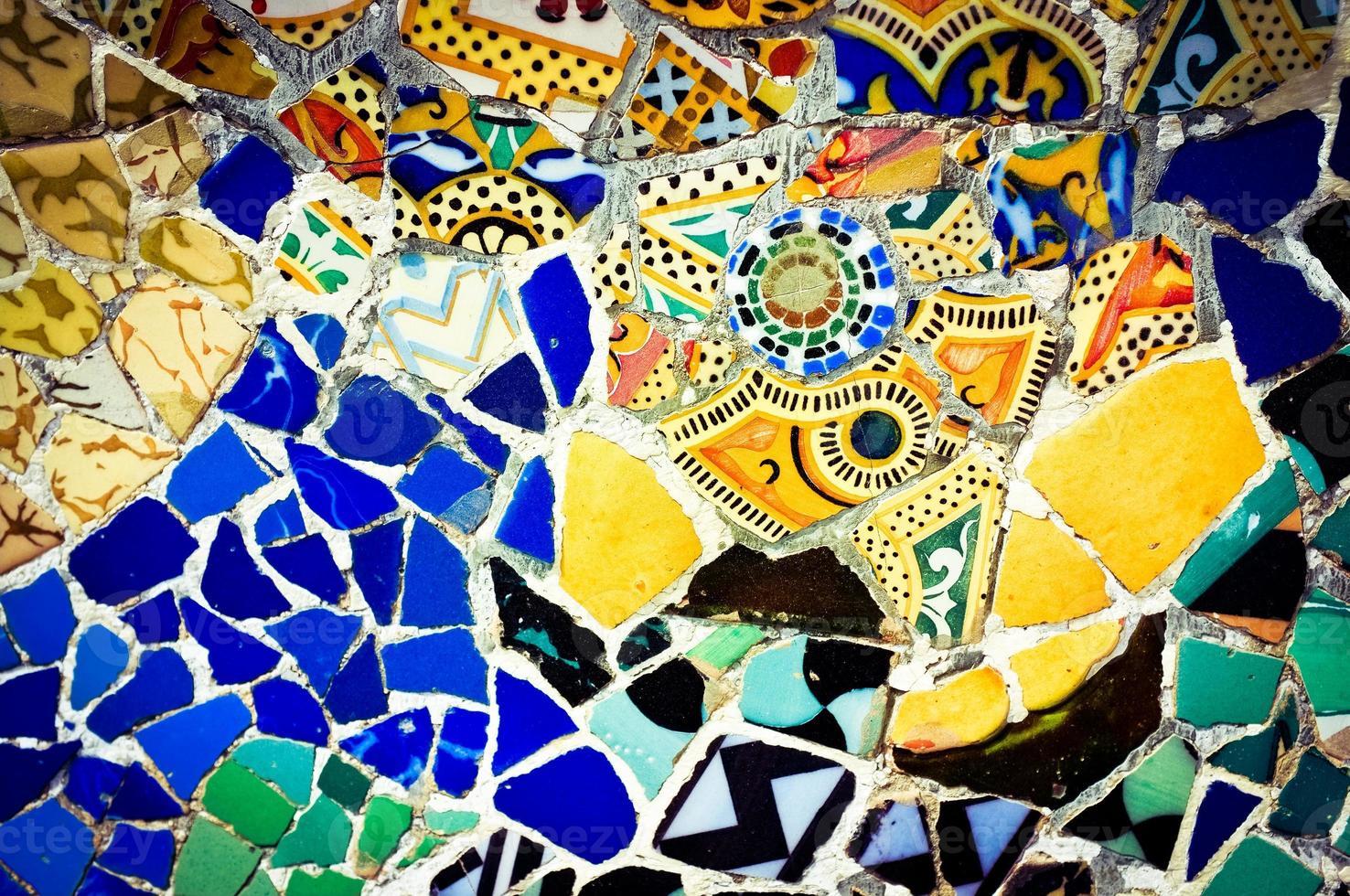 parque guell, mosaico, plano de fondo foto