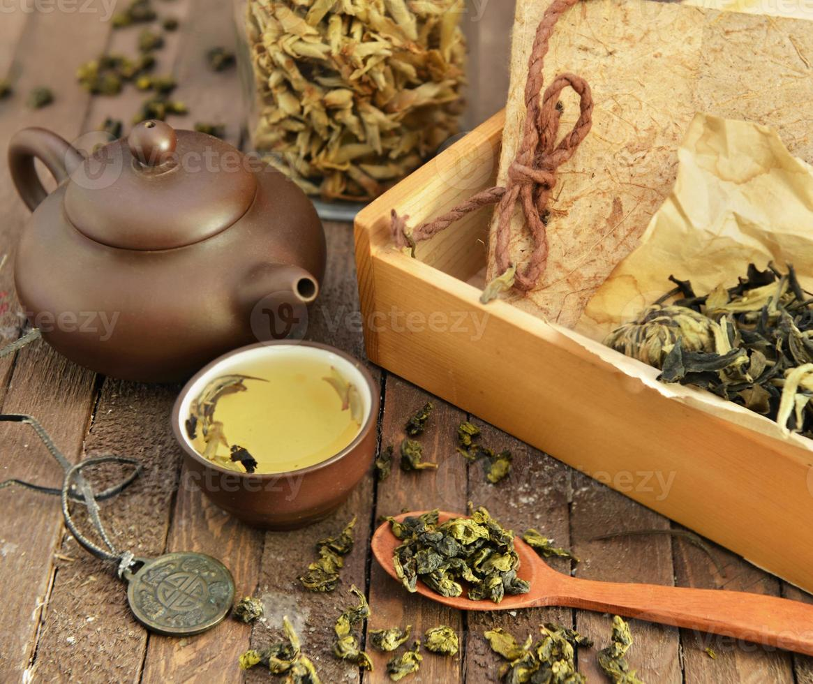 Still life with chinese tea set and accessories photo