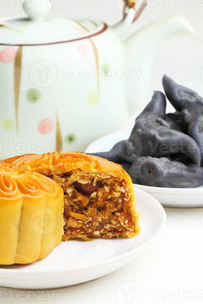 Moon cake with tea and water caltrop photo