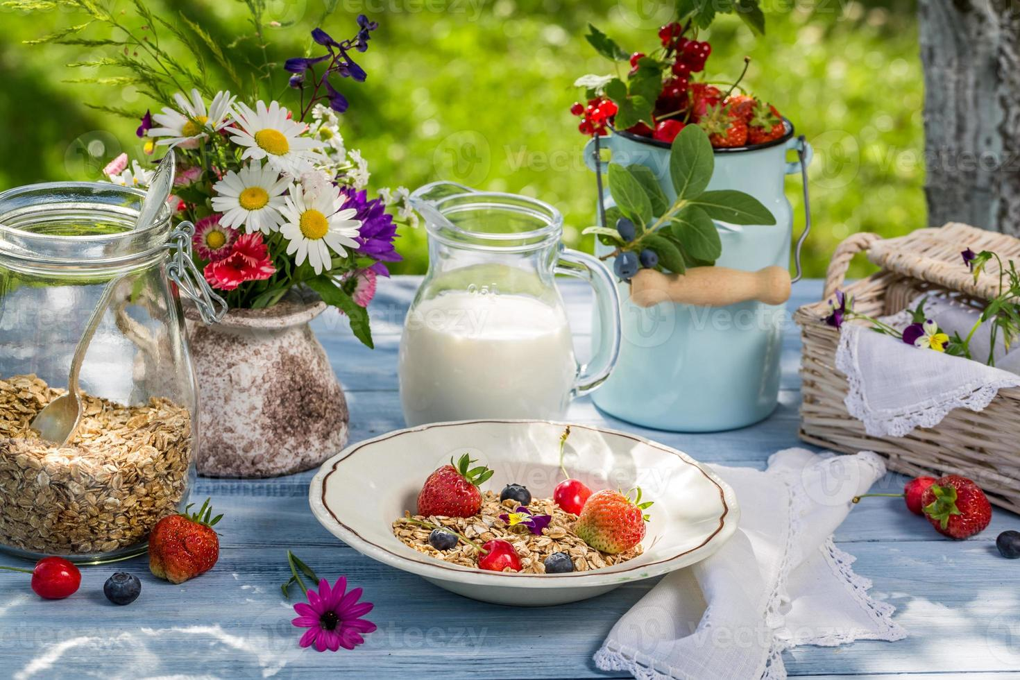 Breakfast with oatmeal, fruit and milk photo