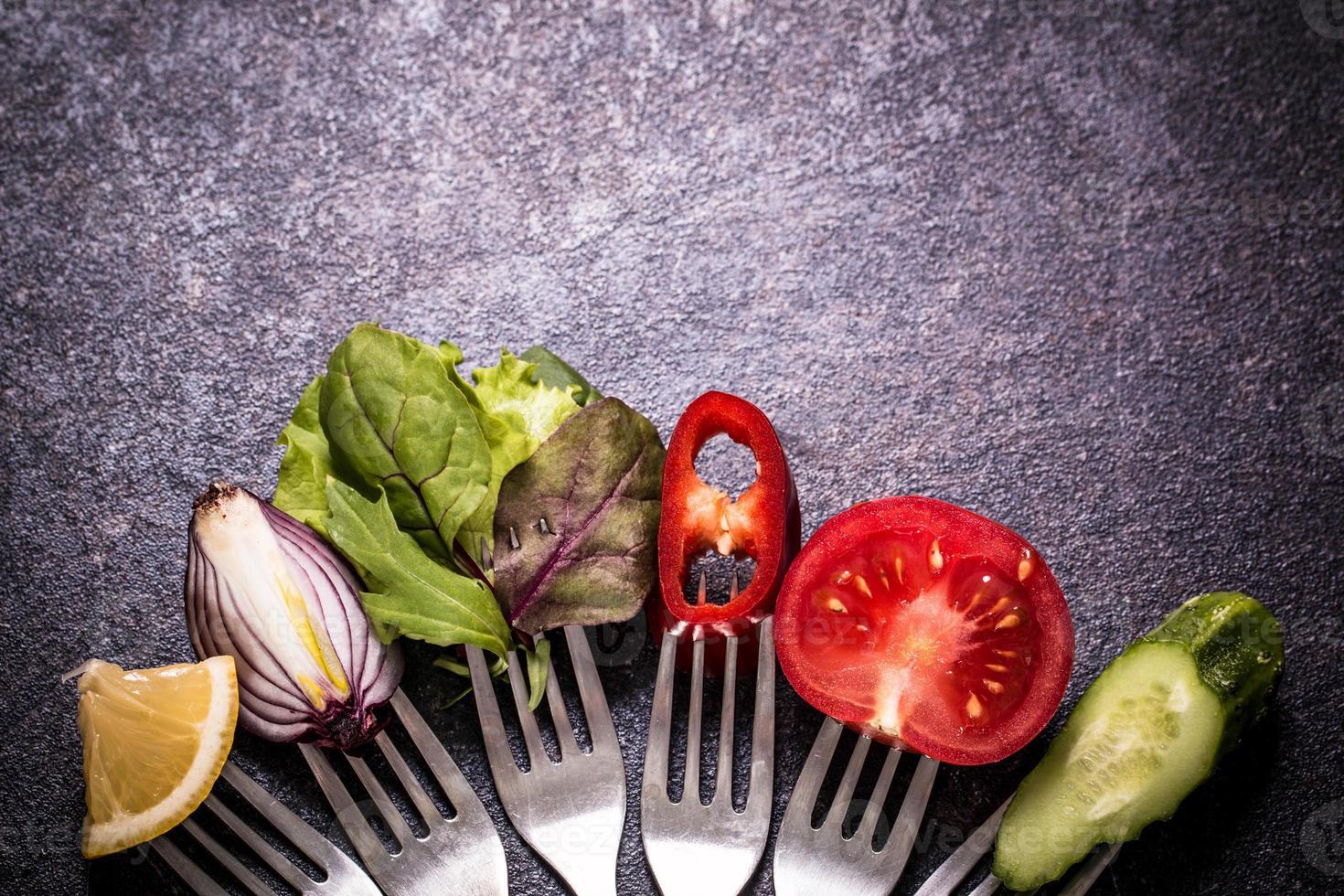 Vegetables on fork photo