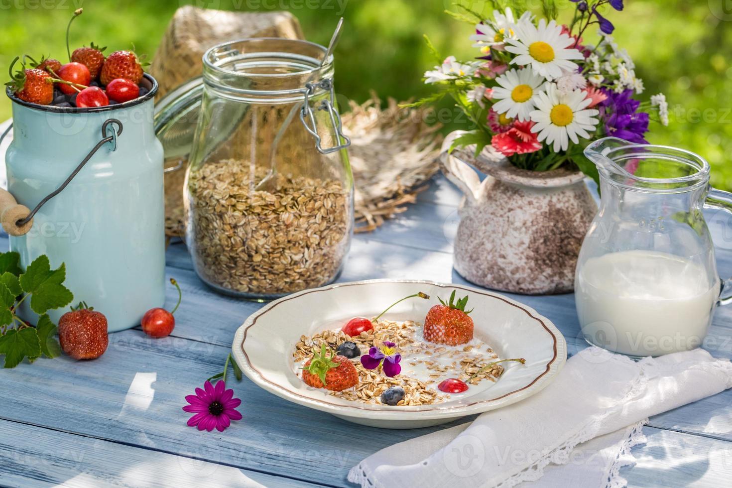 Summer breakfast in the garden photo