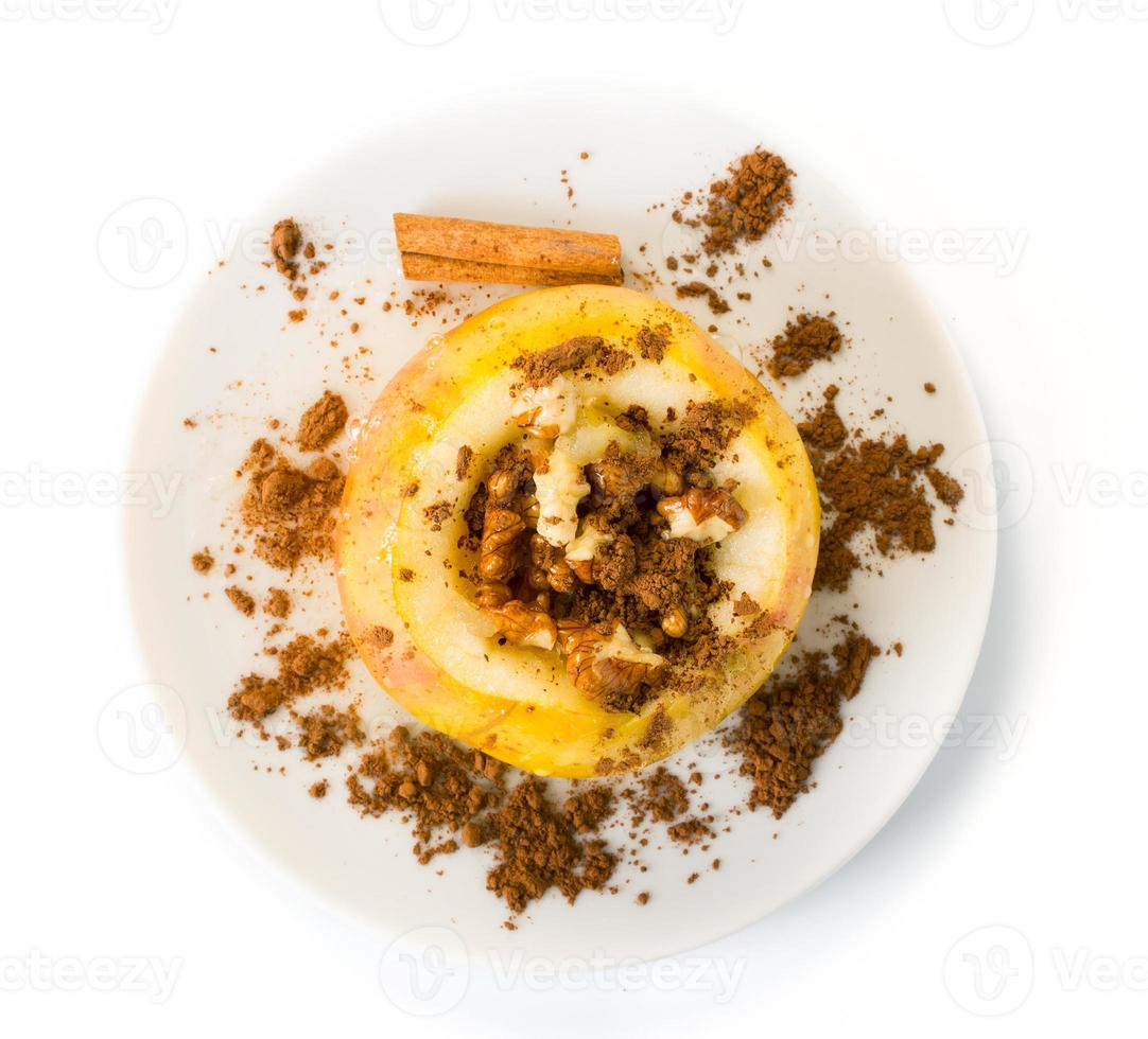 Baked apple with nuts photo