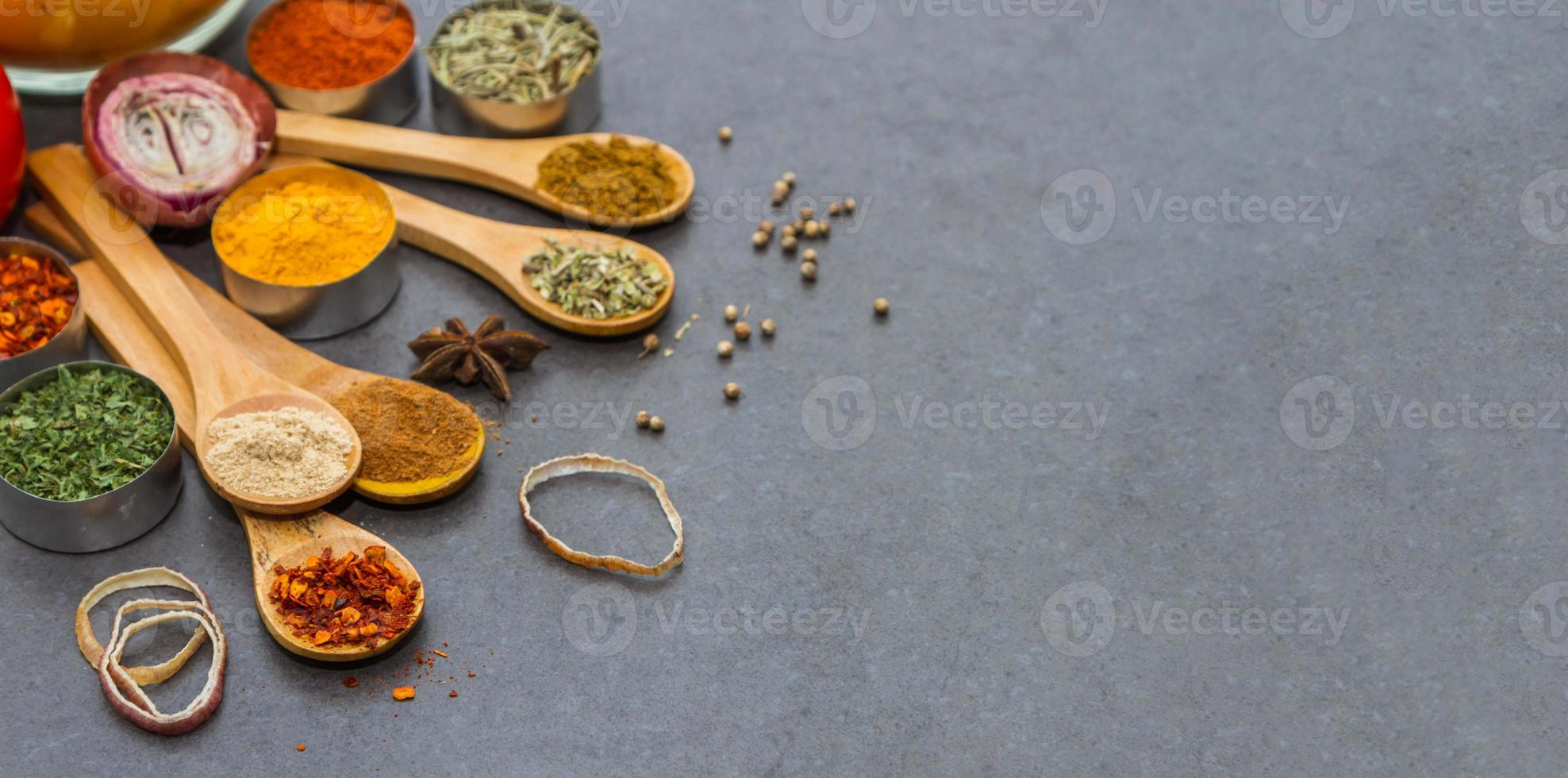 Spices and herbs selection background. photo