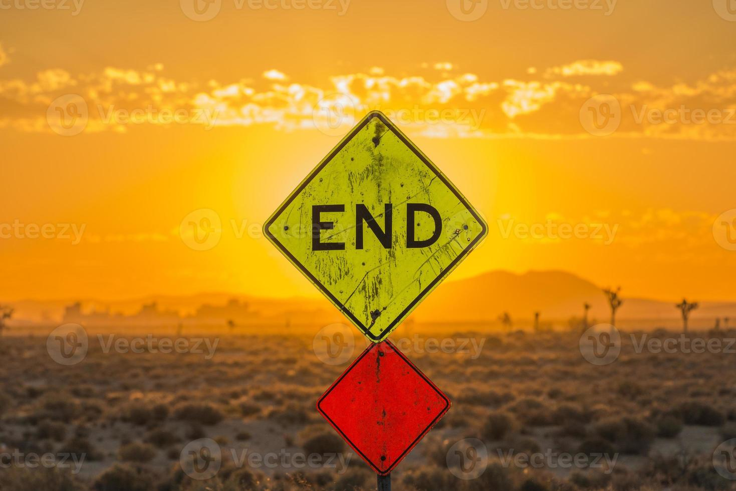 End sign in the desert photo