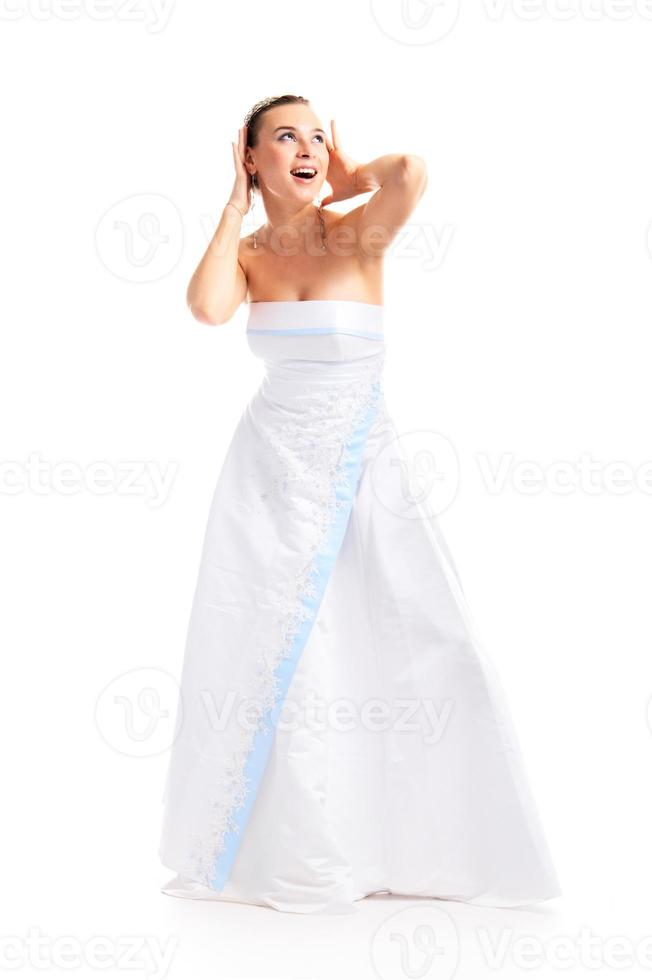 girl in white gown photo