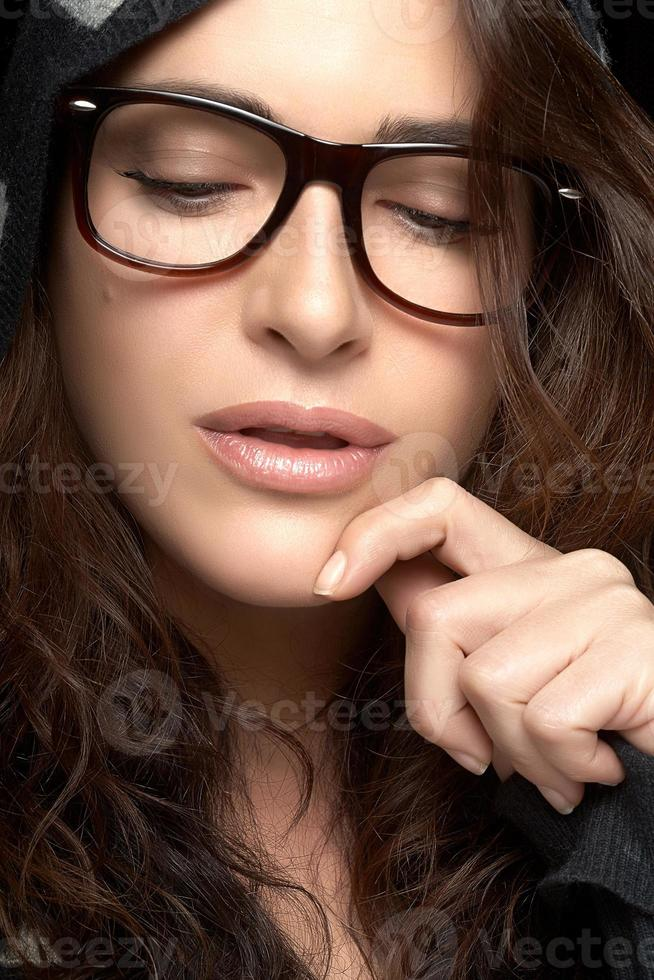 Close up Pretty Woman Face with Glasses. Cool Trendy Eyewear photo