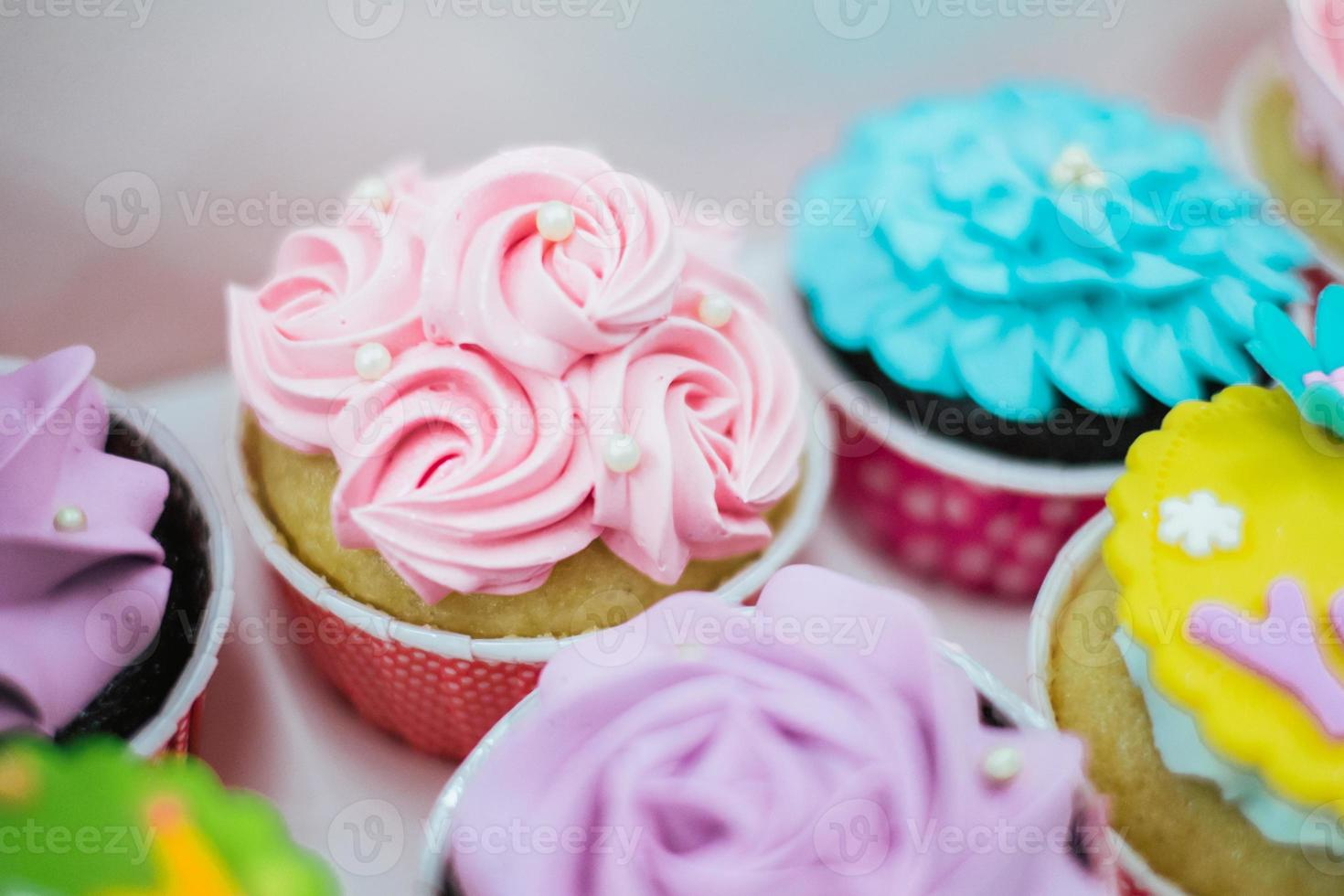 sweet pastel color cupcakes photo