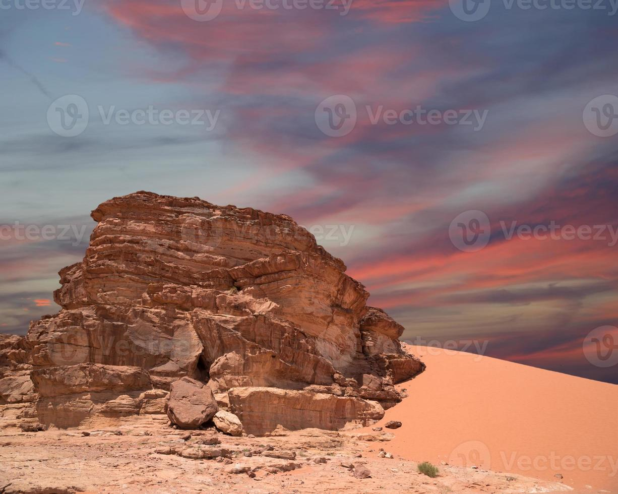 Mountains of Wadi Rum Desert in southern Jordan photo