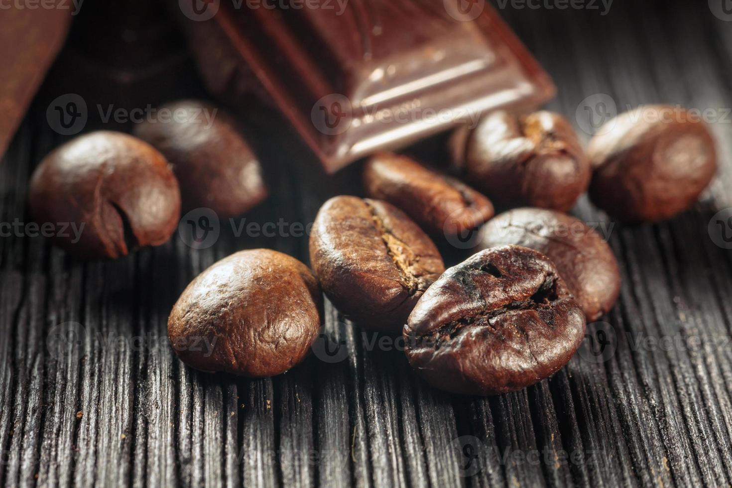 close up of chocolate and coffee beans, shallow dof photo