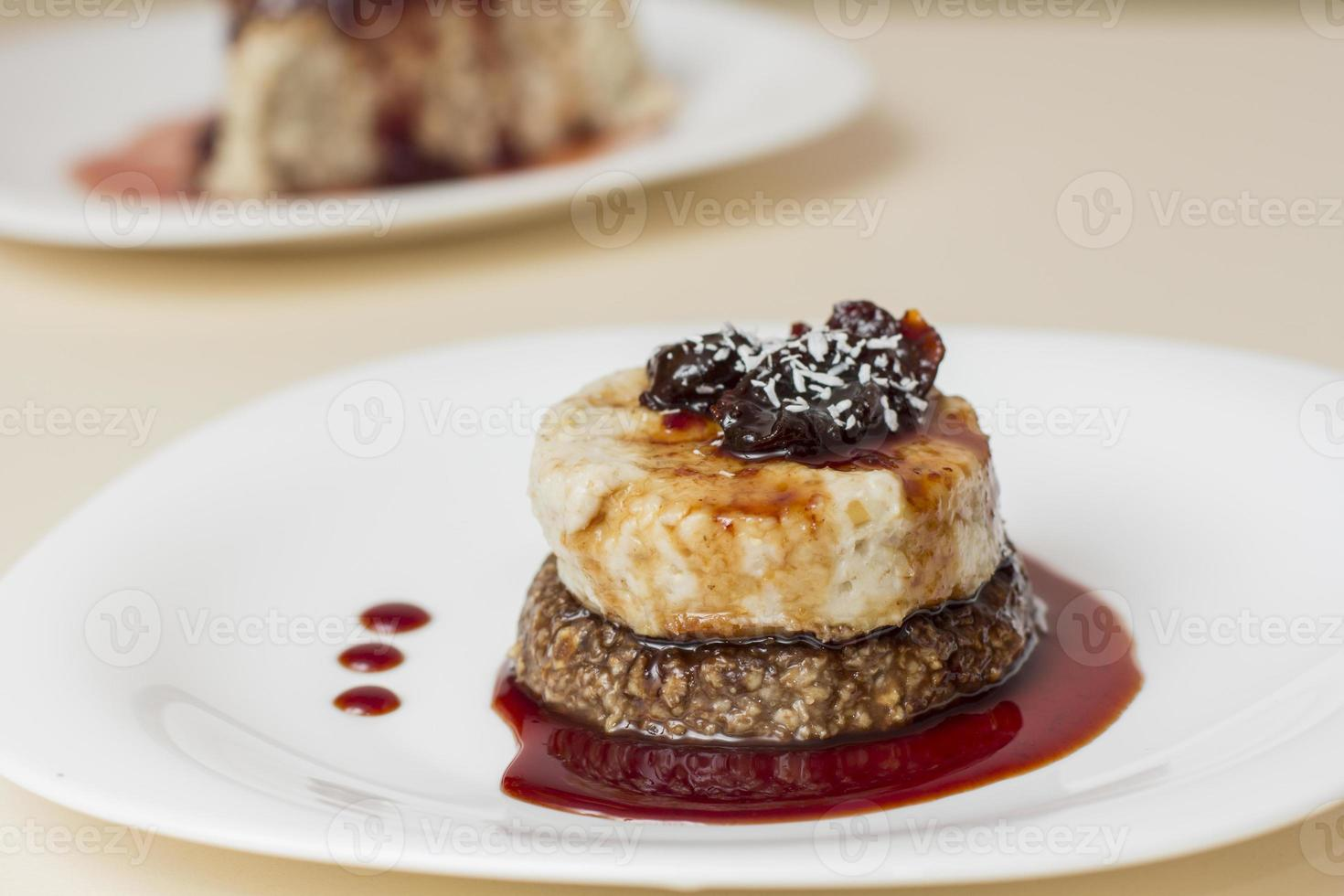 Oat cake on white plate photo