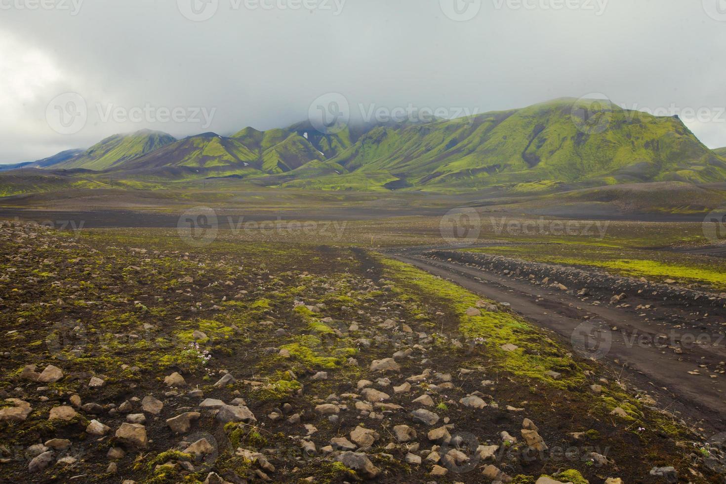 Famous icelandic hiking hub landmannalaugar colorful mountains landscape view, Iceland photo