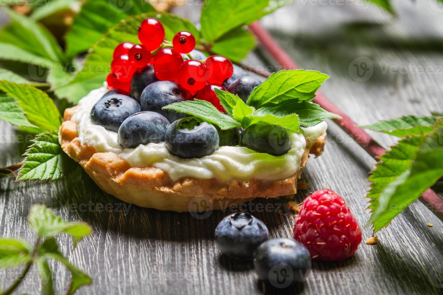 Forest cupcake with berry fruits photo