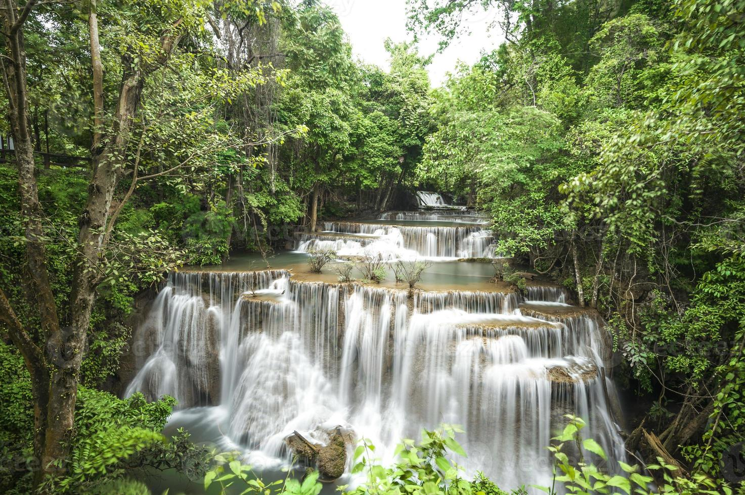 Huai Mae Khamin waterfall in forest Thailand photo