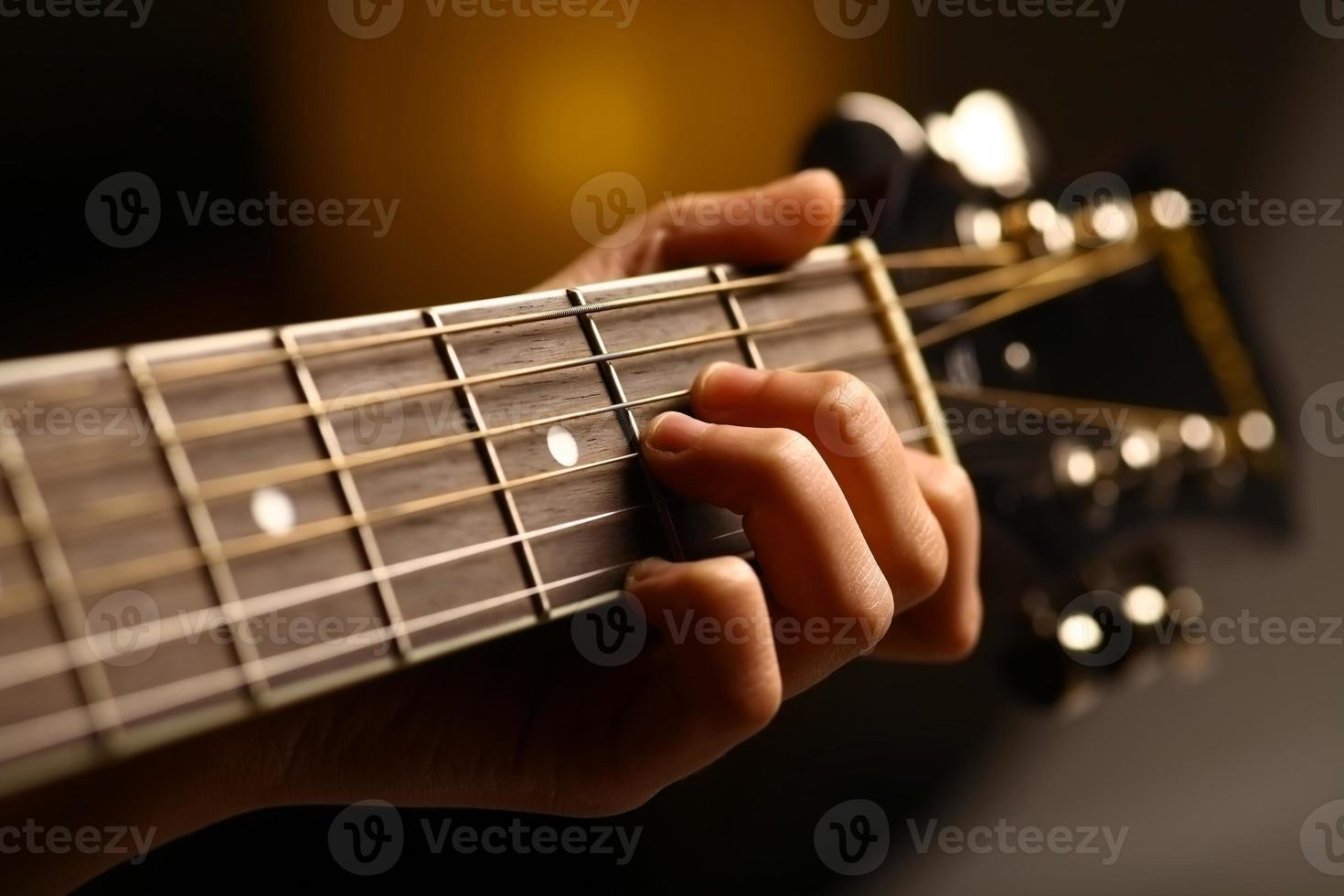 Acoustic guitar detail photo