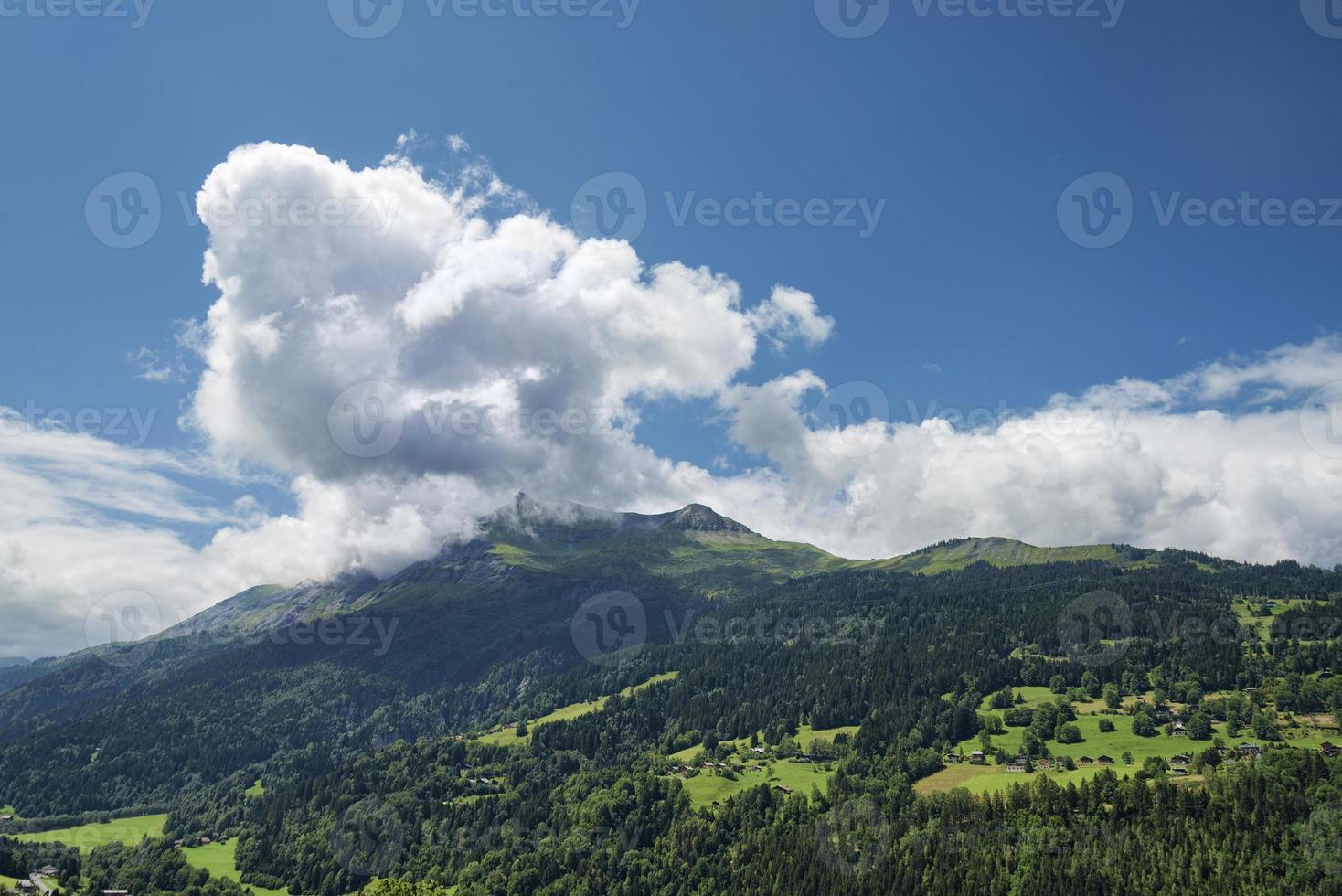 Scenic alpine landscape with mountains forest and houses photo