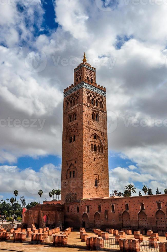 Koutoubia mosque on a cloudy day, Marrakech, Morocco photo