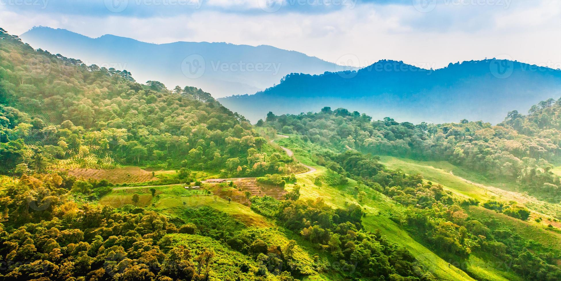landscape of mountain with road and plantation, Chiang rai,Thail photo