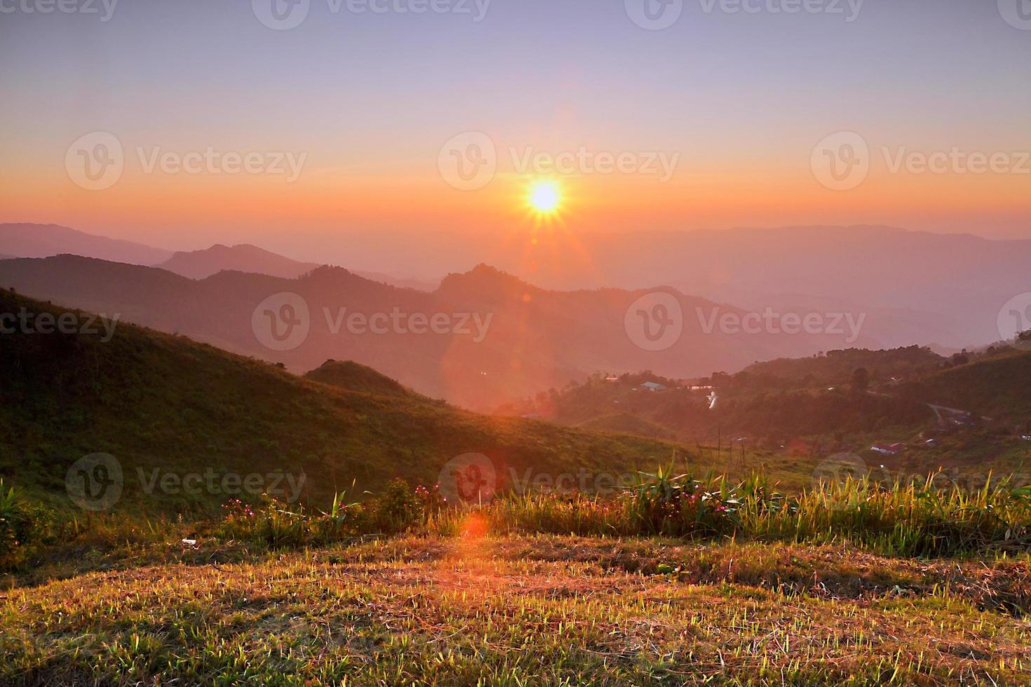 sunset in the mountains photo