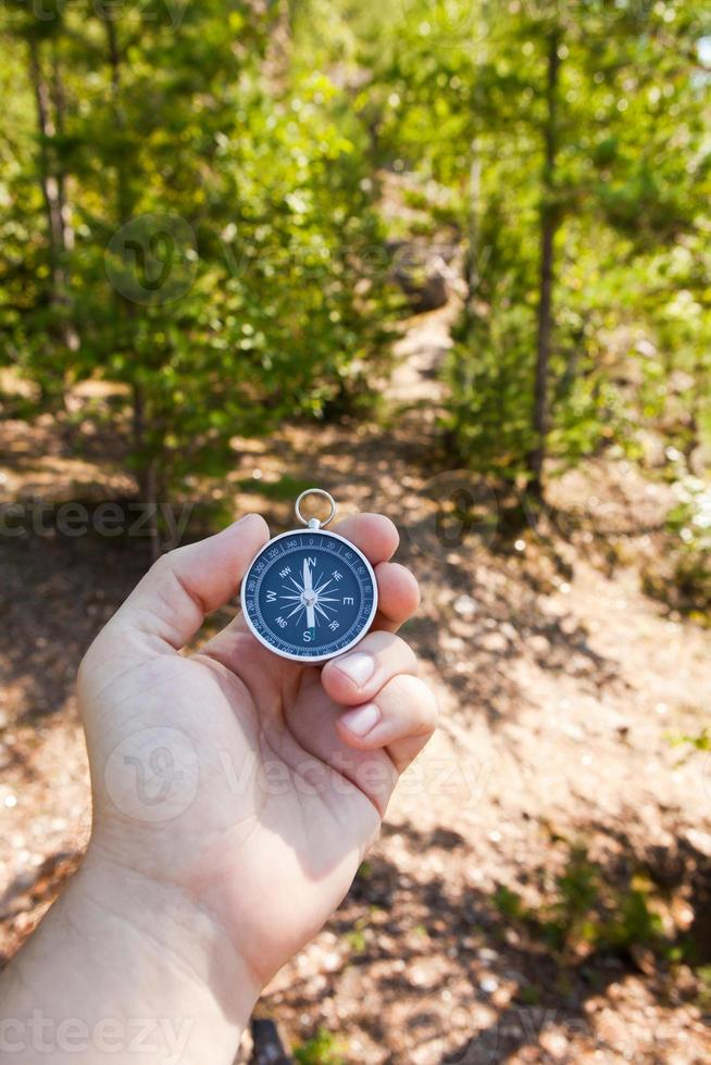 Hand holding the compass photo